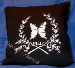 French sign stencilled cushion cover by Gemini Creative, Australian made furniture and craft stencils