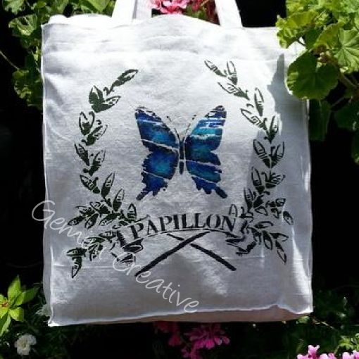 Stencilled fabric with a decorative French butterfly stencil