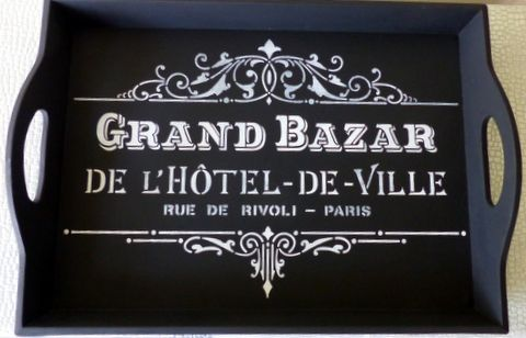 French sign stencil used to update a serving tray