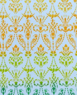 Ombre stencilled damask stencil by Gemini Creative, Australian made furniture stencils