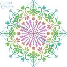 A large decorative mandala stencil, made in Australia by Gemini Creative
