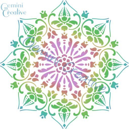 A large decorative mandala stencil, made in Australia by Gemini Creative