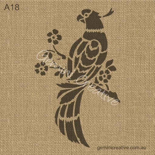 Parrot stencil. Laser cut, reusable stencil, perfect for decorating walls, fabric or painted furniture.