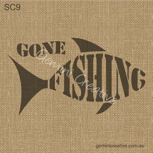 Gone Fishing Stencil