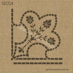 Floral fleur de lis, corner stencil. Vintage style, laser cut, furniture stencil.