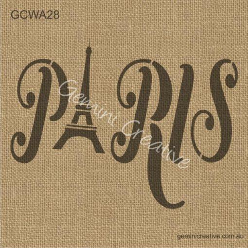 Stencil word Paris, with Eiffel Tower. Australian made furniture stencils.