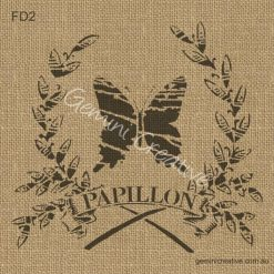 Papillon, butterfly in wreath, French themed, furniture stencil made in Australia.