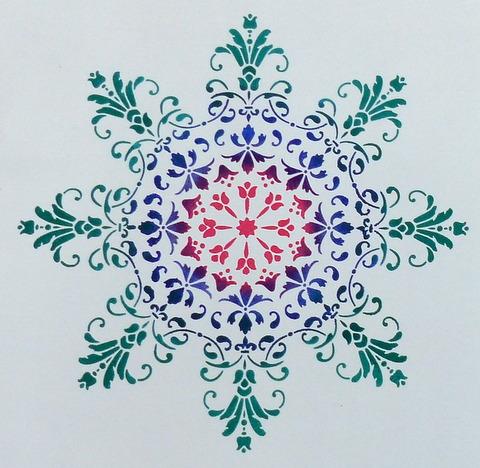 Stencilled mandala stencil by Gemini Creative, Australian made stencils.