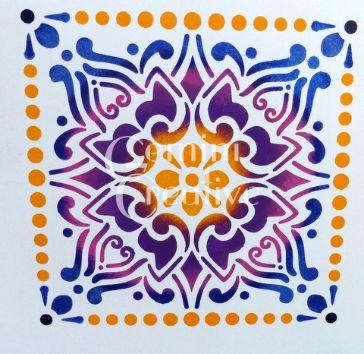 Colourful stencilled tile by Gemini Creative, Australian made stencils