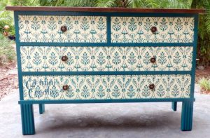 Drawers stencilled with a bird damask stencil, an Australian made furniture stencil