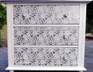 Stencilled drawers using a large lace stencil. Furniture stencils Australia.