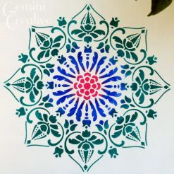 Multicoloured Stencilled Mandala by Gemini Creative