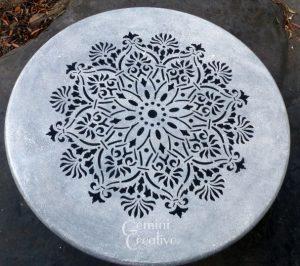 Mandala stencilled table top by Gemini Creative, Australian made furniture stencils