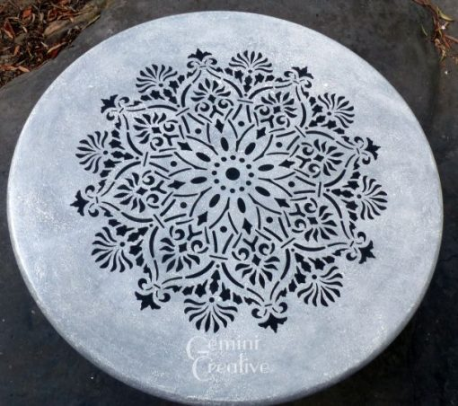 Mandala stencilled table top by Gemini Creative, Australian made furniture stencils