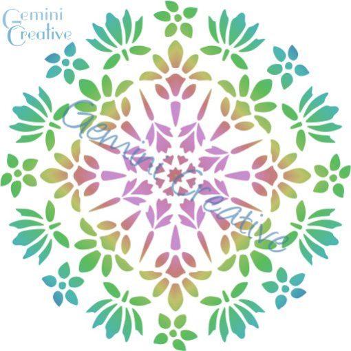 Floral mandala stencil, made in Australia by Gemini Creative