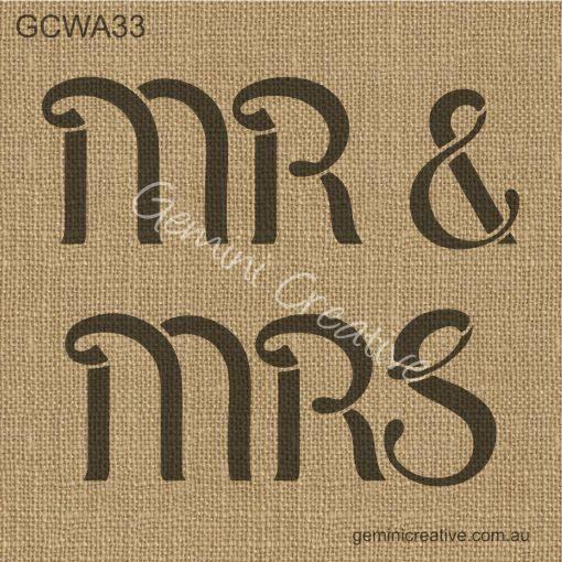 Mr and Mrs stencil by Gemini Creative, Australian made stencils