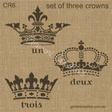 Three crown stencil set by Gemini Creative, Australian made stencils