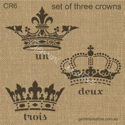 Three crown stencil set by Gemini Creative, Australian made stencils