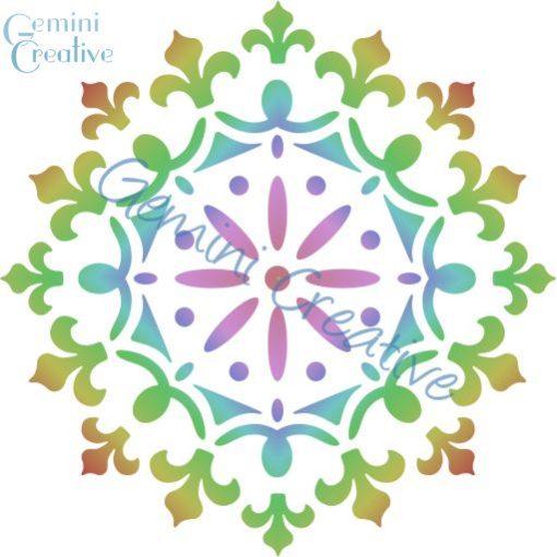 Decorative mandala stencil, made in Australia by Gemini Creative.