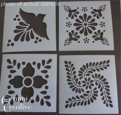 Photo of the set of 4 Mexican Tile Stencils