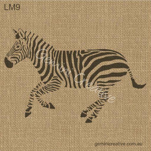 Zebra stencil by Gemini Creative, Australian made furniture and craft stencils
